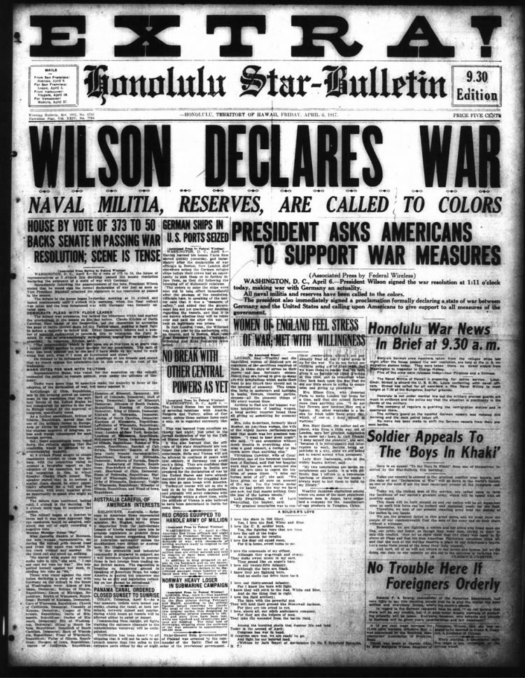 Honolulu Star Bulletin newspaper front page - US in World War I - April 1917