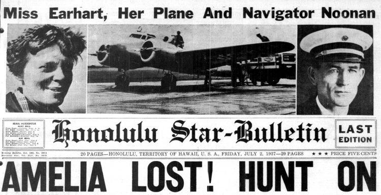 Honolulu newspaper headlines - Amelia Earhart lost - July 2 1937