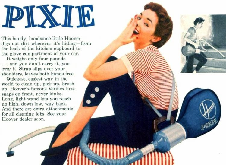 Hoover Pixie vacuum - housewife cleaning from 1955