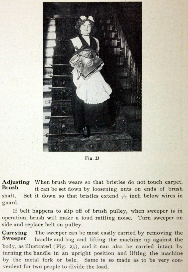 The Hoover Suction Sweeper manual from 1910
