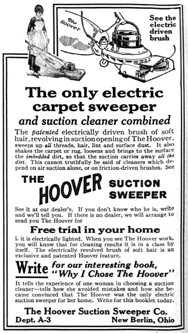 Hoover vacuum cleaners - 1915