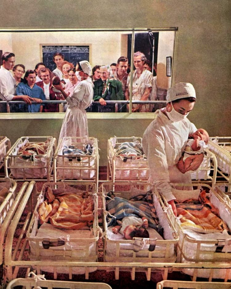 Hospital nursery with newborn babies in 1955