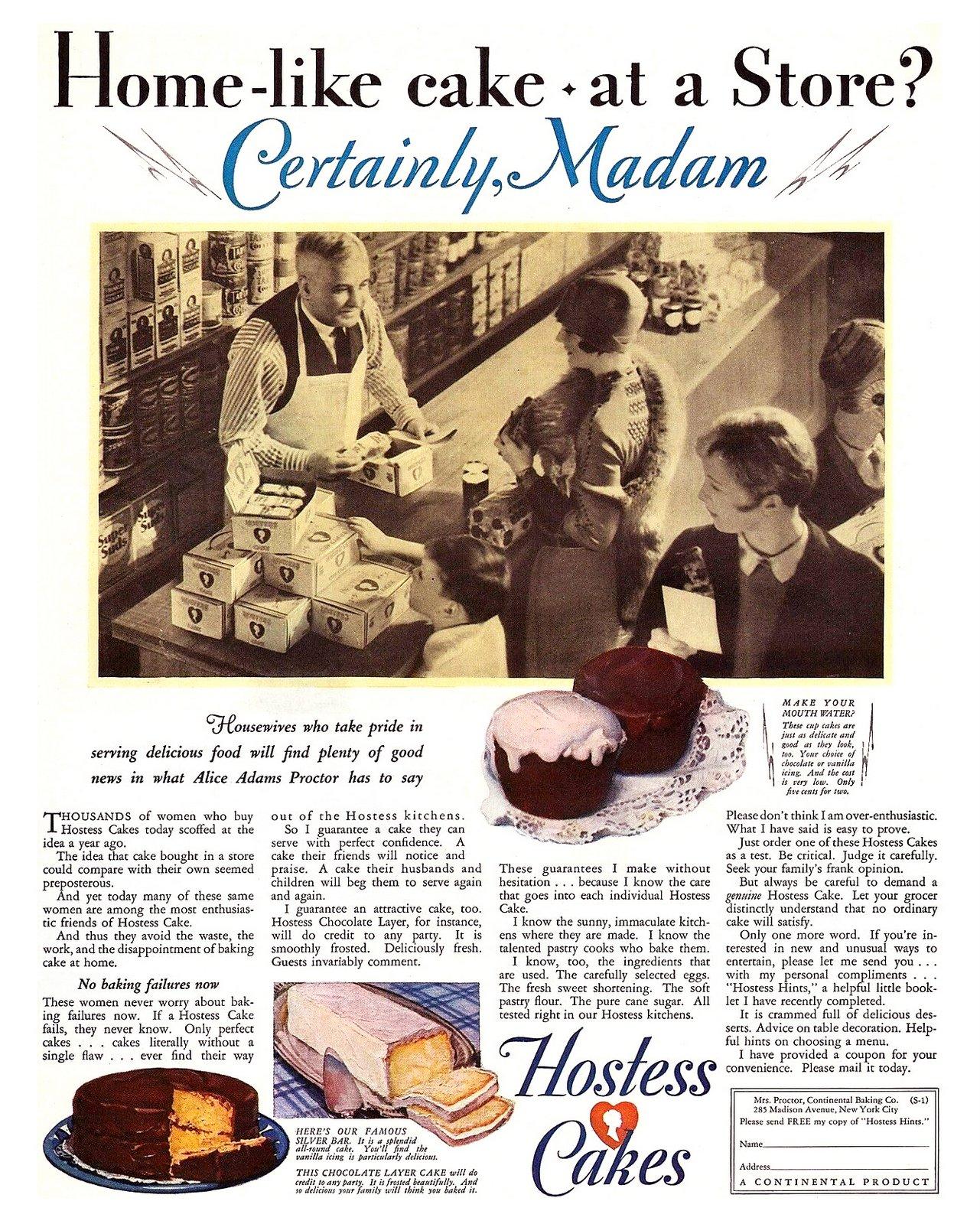Hostess cakes - 1920s