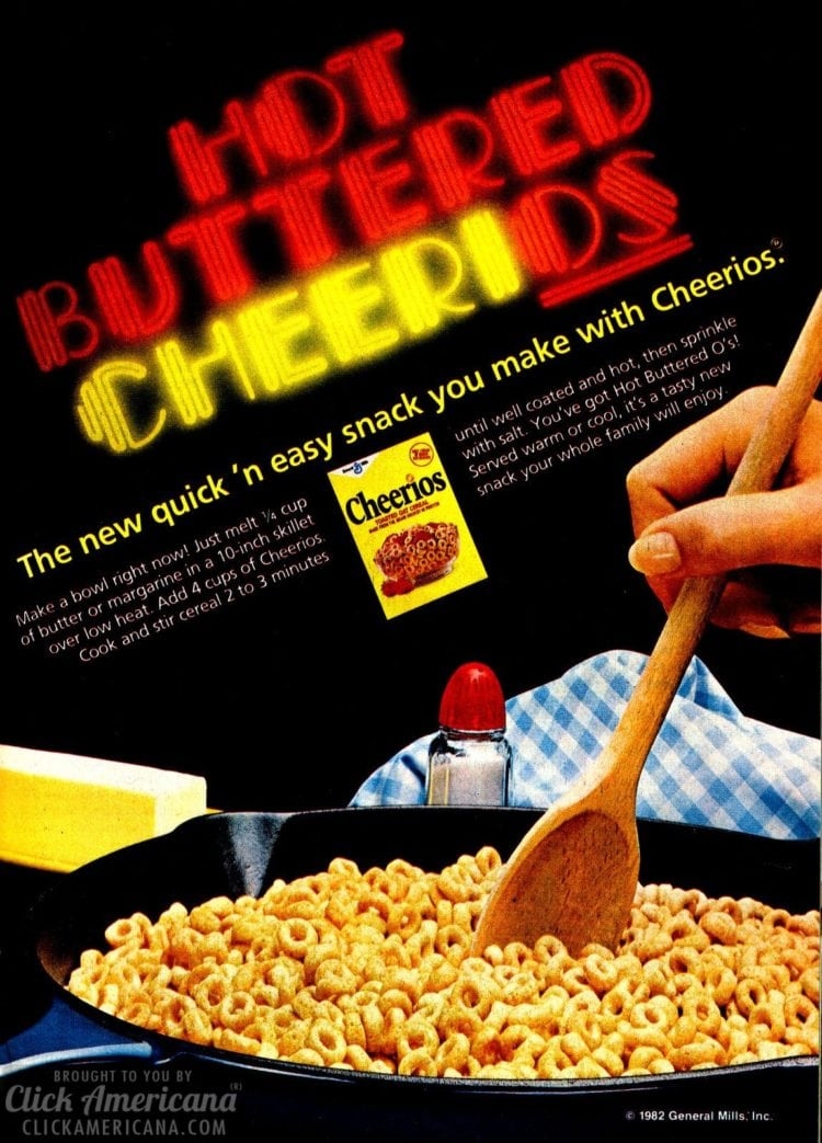 Hot buttered Cheerios recipes (1982)