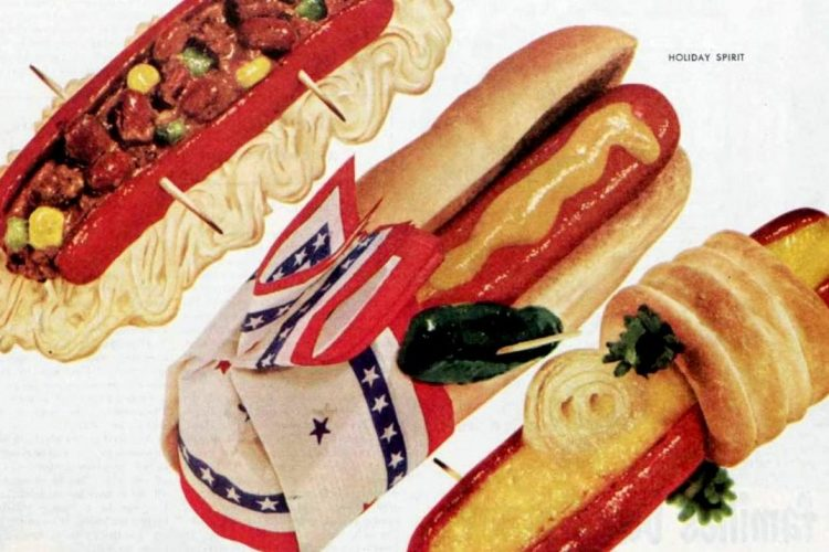 Hot dogs - dinner ideas from 1950
