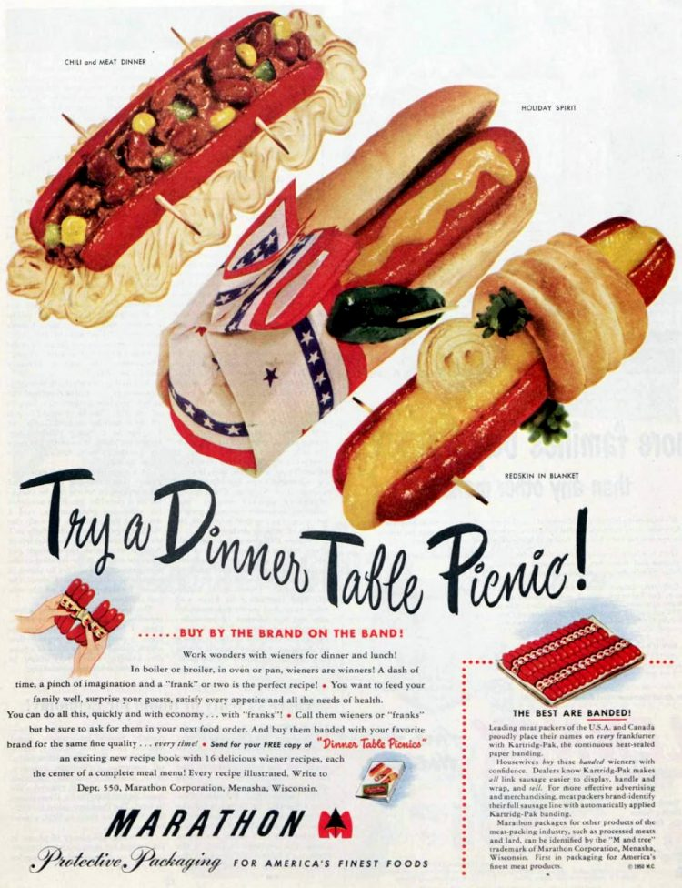 Hot dogs - dinner picnic ideas from 1950