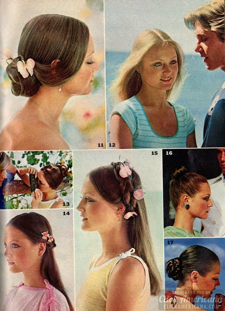 Side hair is caught in a curve by an artificial braid decorated with flowers