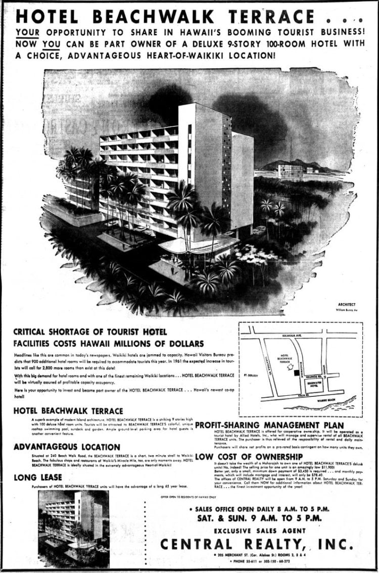 New construction in Hawaii: Hotel Beachwalk Terrace (1960)