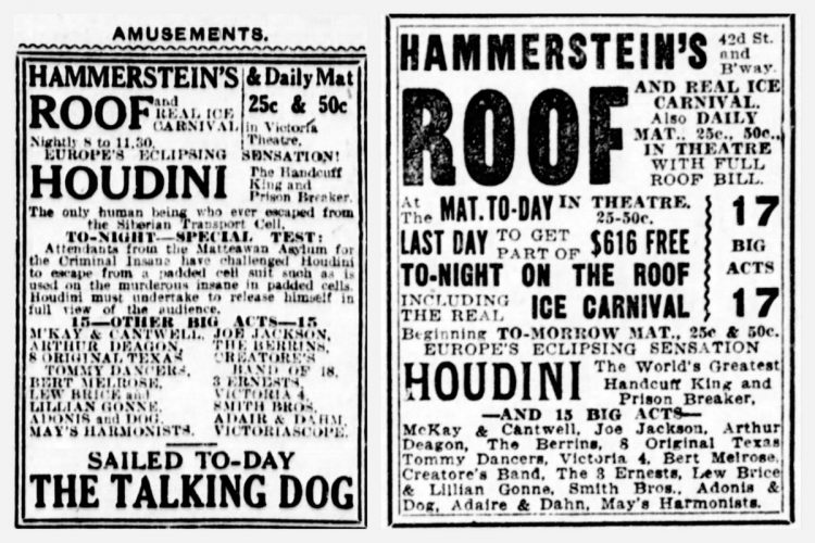 Houdini show ads from New York in 1912 - Performances at Hammerstein's Roof