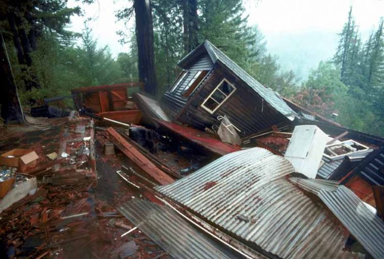 House Moved Off Foundation J.K. Nakata, U.S. Geological Survey