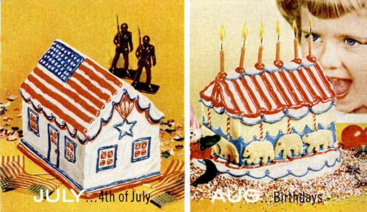 House-shaped cake designs 1956 4th of July - Birthdays