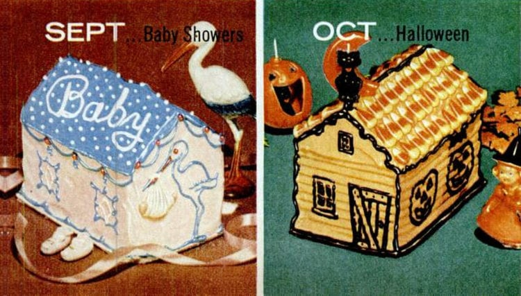 House-shaped cake designs 1956 Baby Showers - Halloween