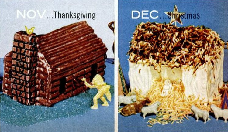 House-shaped cake designs 1956 Christmas - Thanksgiving