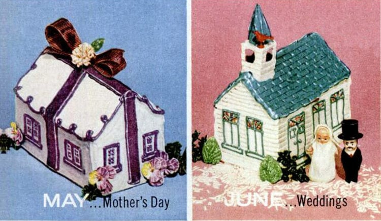 House-shaped cake designs 1956 Mother's Day - Weddings