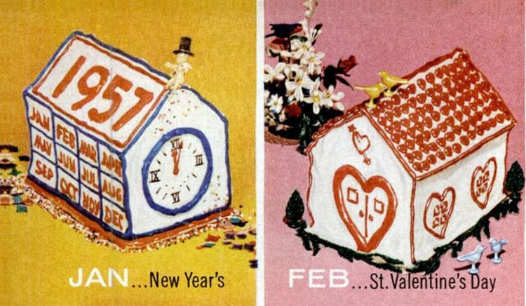 House-shaped cake designs 1956 New Year's - Valentine's Day