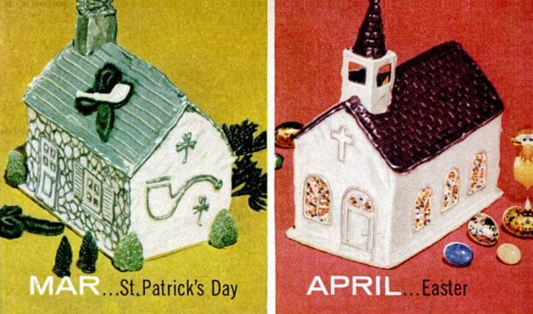 House-shaped cake designs 1956 St Patrick's Day - Easter