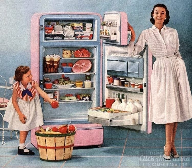 Housewife and fridge in the '50s
