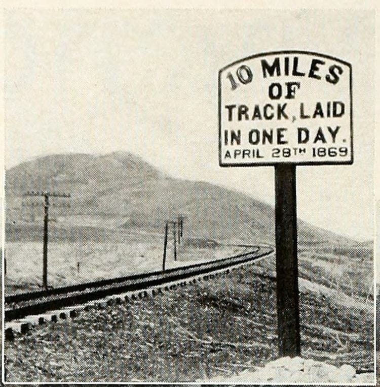 Sign boasts of CP's one day track laying record, Utah