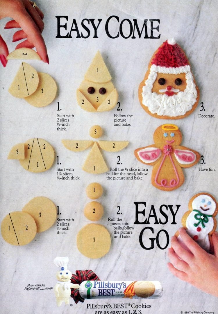 How to assemble Christmas sugar cookies for Santa Snowman and angel shapes - Vintage from 1988