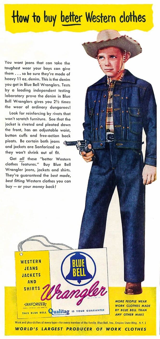 How to buy better Western clothes - Vintage Blue Bell Wrangler jeans ad