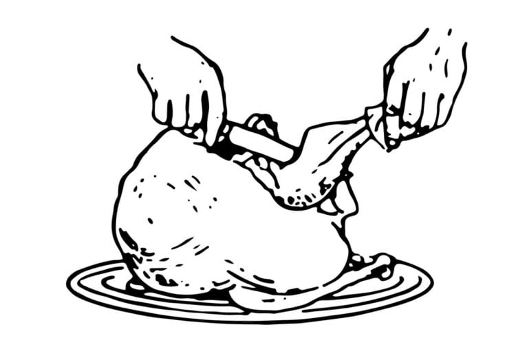 How to carve turkey - Side carving method 2. Remove drumstick