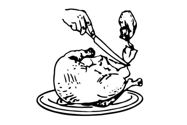 How to carve turkey - Side carving method 4. Slicing dark meat