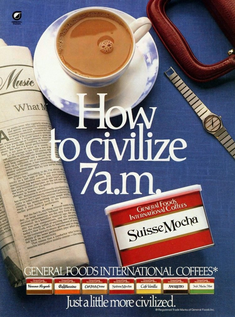 How to civilize 7am - Suisse Mocha coffee ad (1986)