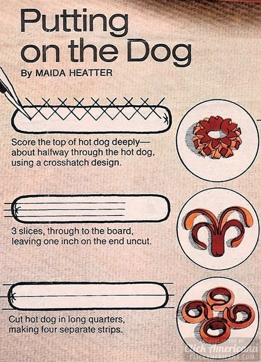 Step-by-step how-to hot dog shapes diagrams