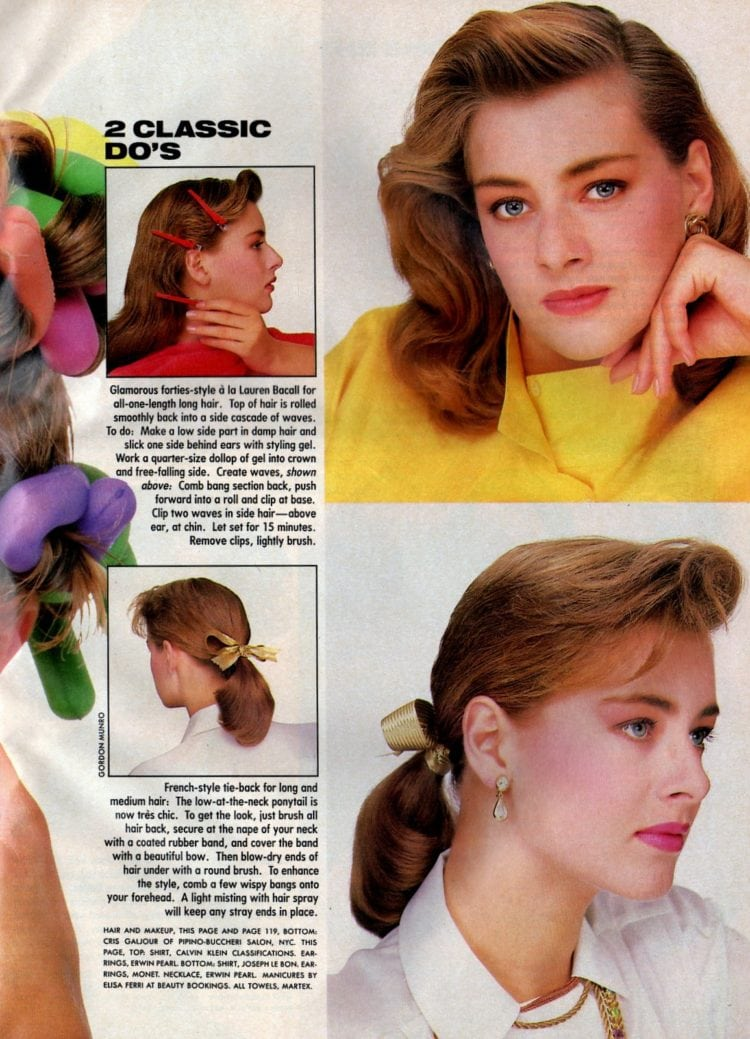 French-style tie-back for long and medium hair - style from 1986