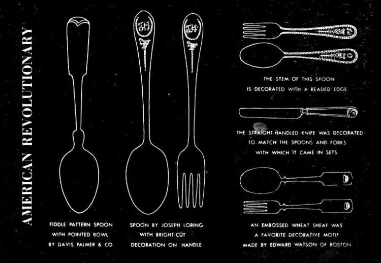 American Revolution era knives, forks, spoons