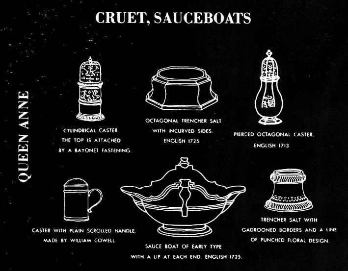 Queen Anne era cruet, sauceboats