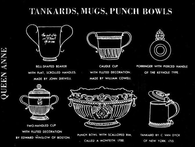 Queen Anne era tankards, mugs, punch bowls