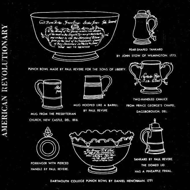 American Revolution era tankards, mugs, punch bowls