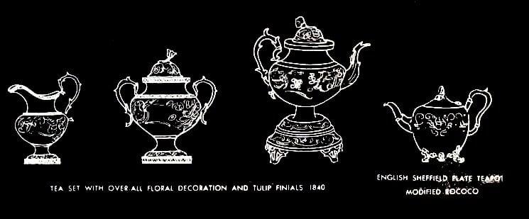 Antique silver floral tea set