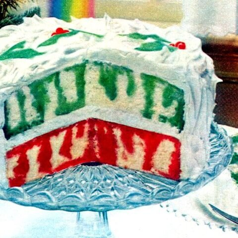 Christmas Rainbow Poke Cake recipe