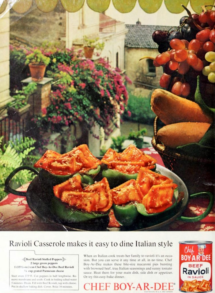 How to make a ravioli casserole in bell pepper halves (1960s)