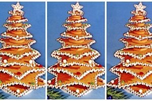 How to make an edible Christmas tree out of star-shaped cookies (1962)