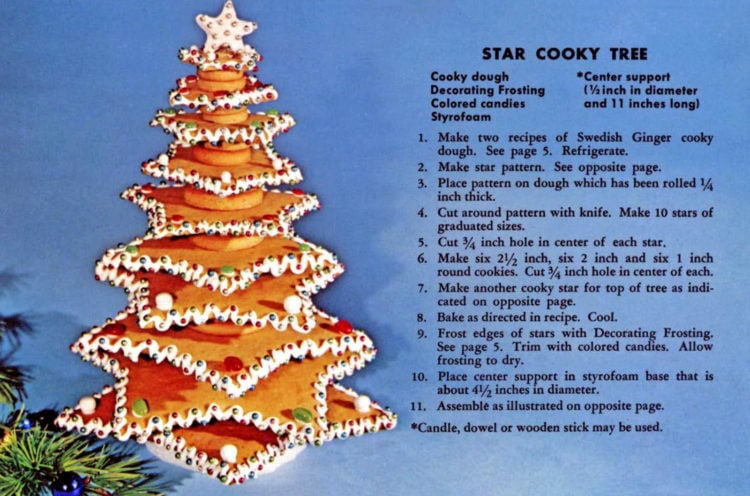 How to make an edible Christmas tree out of star-shaped cookies - Vintage recipe (2)