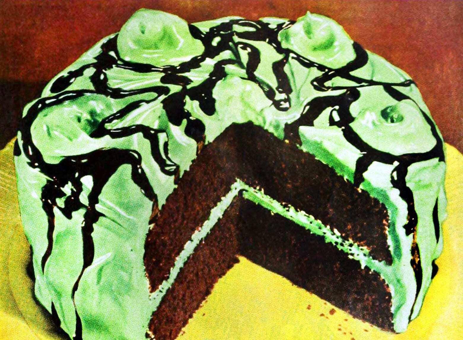 How to make an old-fashioned chocolate mint sundae cake (1949)