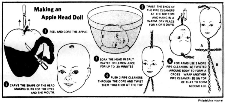 How to make apple head dolls - Illustration from 1977