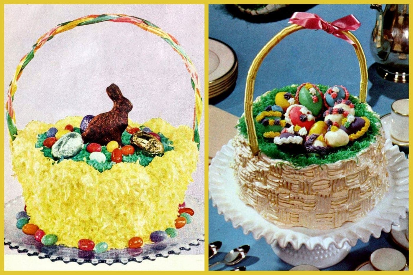 Amazing How To Make Three Cute Old Fashioned Easter Basket Cakes Click Funny Birthday Cards Online Fluifree Goldxyz