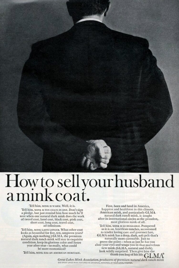 How to sell your husband a mink coat vintage ad from 1964