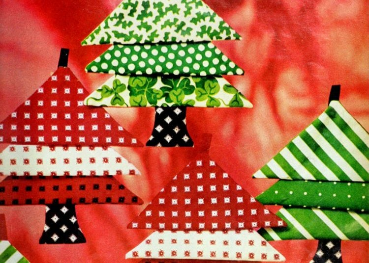 How to sew cute Christmas tree ornaments (1974)