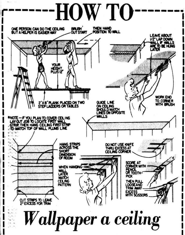 How to wallpaper a ceiling, step-by-step diagram from 1979