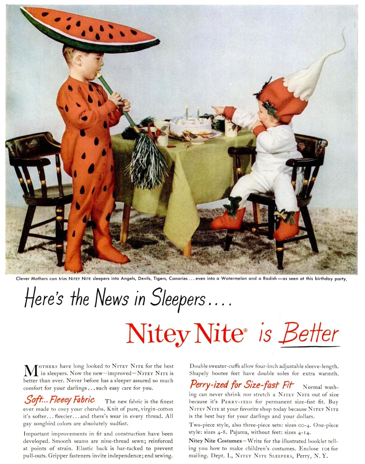 How vintage Nitey Nite sleepers could be made into costumes (1952)
