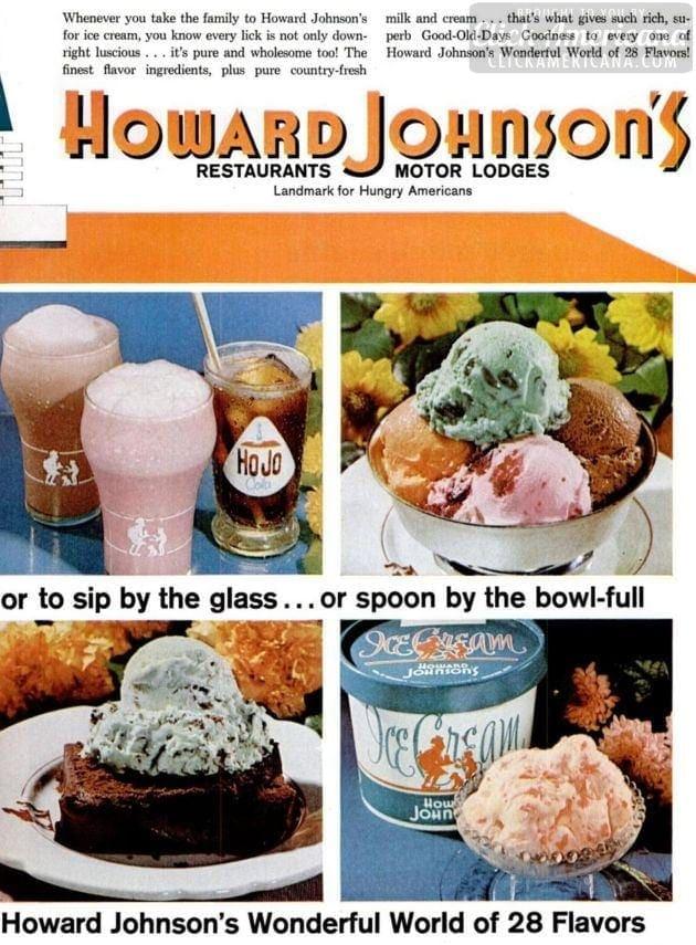 Howard Johnson S Ice Cream Good Old Days Goodness 1966