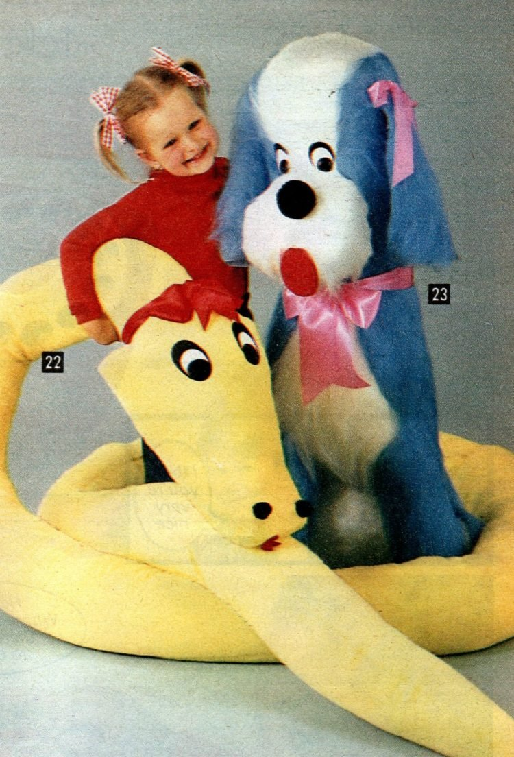 Huge plush toys from 1981 - big yellow snake and giant blue dog