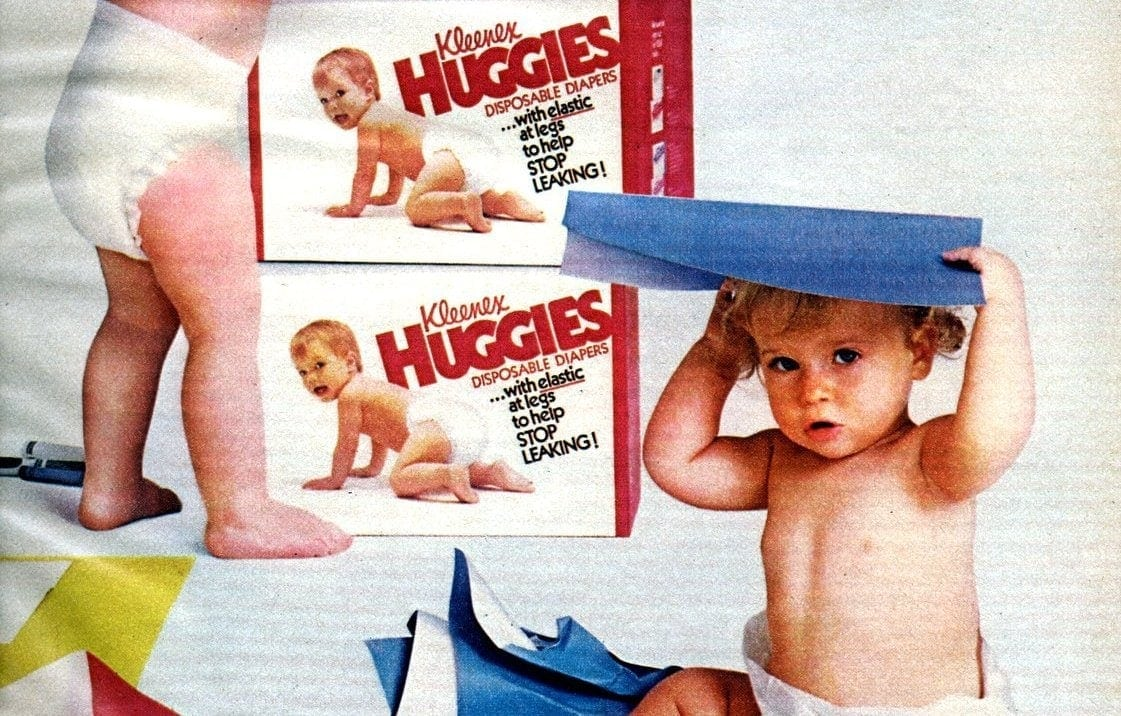 Huggies disposable diapers from 1985