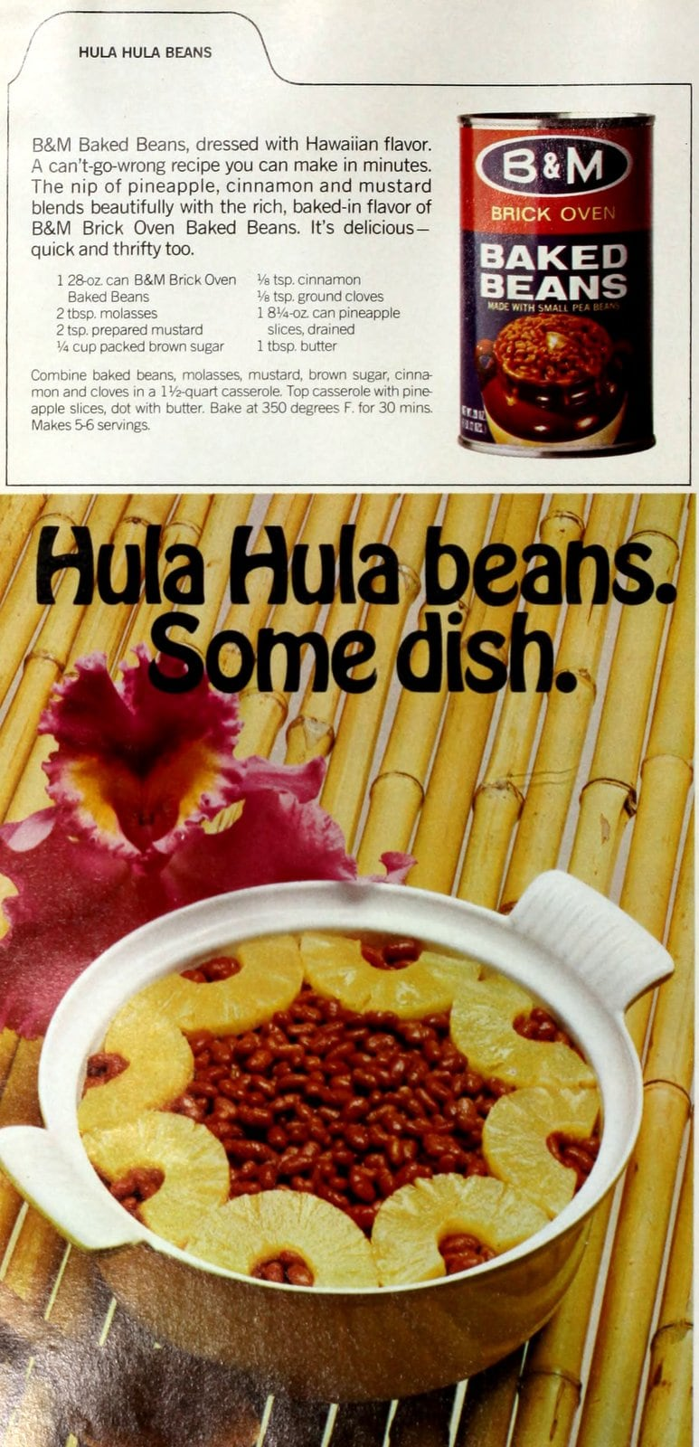 Hula Hula beans recipe - Baked beans with pineapple (1970)
