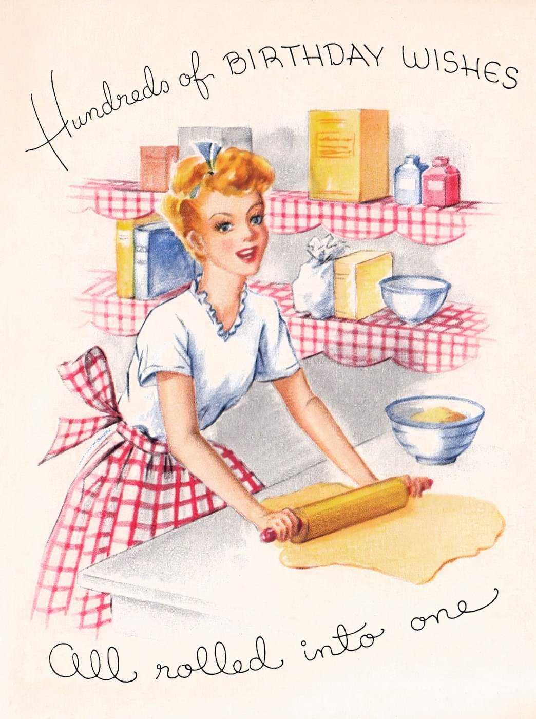 Hundreds of birthday wishes - Vintage 1940s greeting card